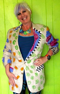Hand Painted linen Blazer recycled by monapaints on Etsy, $175.00