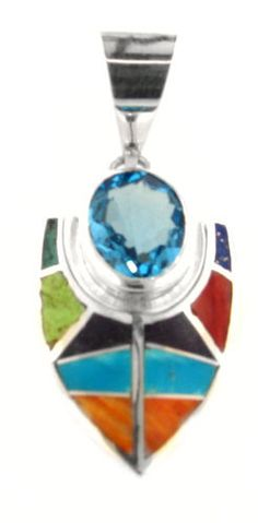 David Rosales Indian Summer w/ Blue Topaz Inlaid Sterling Silver Pendant