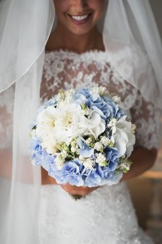 Pastel Blue Wedding, Blue Wedding Flowers, Bridal Flowers, Bridal Bouquet Blue, Summer Wedding Bouquets, Flower Bouquet Wedding, Wedding Hall Decorations, Marie, Wedding Planner