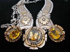 Vintage Russell Sam Sterling Set Necklace Earrings Silver Citrine Gold GF Signed | eBay