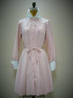 RETRO Vintage 1970's Shirt Style Chain Belt Pink White Mini Dress Small 8  #PlazaSouth