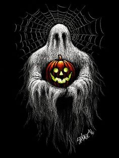 Inspired by the oldest Halloween decoration I own, a ceramic ghost holding a grinning pumpkin. Original artwork by Chad Savage. Halloween Canvas, Halloween Artwork, Halloween Painting, Halloween Drawings, Creepy Halloween, Halloween Wallpaper, Spirit Halloween, Halloween Prints, Halloween Stuff