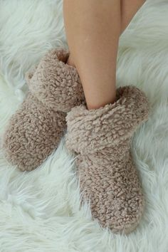 Let's Get Cozy Fuzzy Slippers