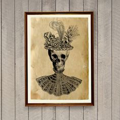 Skull poster printed on aged paper. Vintage looking human anatomy print in antique style. Handmade Gothic decor for your home and office. SIZE: 8.3 x
