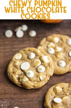 These chewy pumpkin white chocolate chip cookies are the best cookies you'll have this fall season! The cookies are chewy, soft, pumpkin cookies with slightly crispy edges - and not cakey!