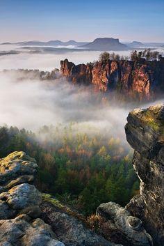 Foggy, Bastei, Saxon Switzerland, Germany photo via earmark