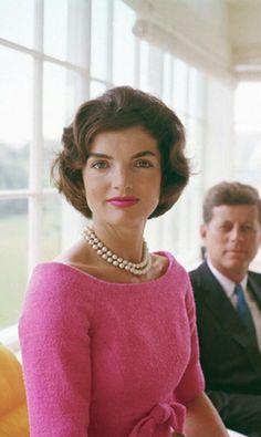 Jackie Kennedy #pink #pearls