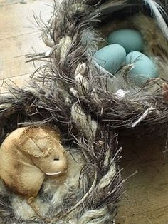 These are homemade birdnests out of an old sweater!!