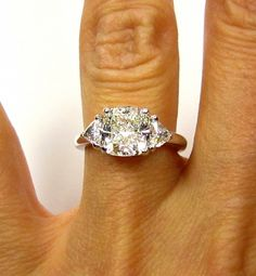 2.41ct Estate Vintage CUSHION Cut Diamond