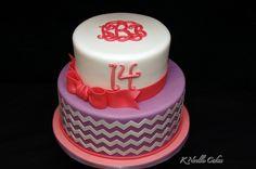 Chevron Birthday cake by K Noelle Cakes