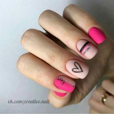 Have you discovered your nails lack of some modern nail art? Yes, recently, many girls personalize their nails with lovely … Cute Acrylic Nails, Cute Nails, Pretty Nails, My Nails, Work Nails, Nagellack Design, Manicure E Pedicure, Heart Nails, Dream Nails