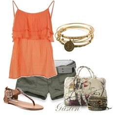 Orange ruffle tank again maybe switch to J Crew or something more suitable for my age :)