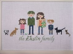 Cross stitch family portrait I made last year.  It's about time to make an updated one now that the kids are bigger....and we're down one frog.  :)