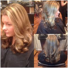 Long layers through back...face framing layers through front...chocolate low lights...honey  Blonde highlights