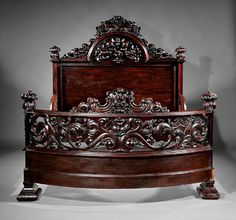 Buy online, view images and see past prices for Carved and Laminated Rosewood Bed attr Belter. Invaluable is the world's largest marketplace for art, antiques, and collectibles. Victorian Bedroom, Victorian Furniture, Unique Furniture, Vintage Furniture, Wood Bed Design, Bedroom Bed Design, Curved Bed, King Bedroom Sets, Wood Beds