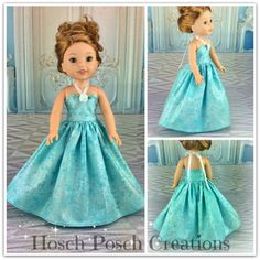 14.5 inch doll clothes  Ball gown fits wellie Wishers dress to by HoschPoschCreations Blue frozen Frost