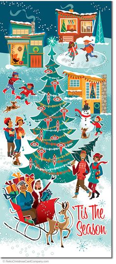 """Hometown Holiday Christmas Cards, Package of 8  Hometown Holiday Christmas Cards is an illustration of a wintry retro hometown scene with everyone in the Christmas spirit. A giant Christmas tree decorates the town square as happy folks are ice skating, building snowmen, throwing snowballs, caroling and riding in a one """"reindeer"""" open sleigh! It most certainly 'tis the season""""!  8 cards & envelopes $13.00 
