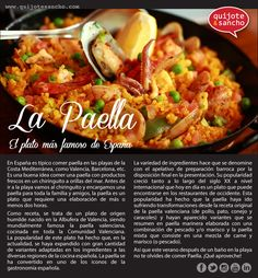 PAELLA description: Lesson Idea: For upper level students, after reading this infographic on paella, have students write a description of a typical food from their region or country. Add a compare and contrast portion to the writing for a greater integration of culture. Lesson idea from Mundo de Pepita.
