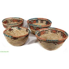 4 Hausa Baskets Bowls Nigeria Handwoven Women African 79640 (32 AUD) found on Polyvore
