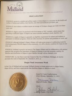 Midland, MI -  Mayoral proclamation recognizing Diaper Need Awareness Week (Sept. 28 - Oct. 4, 2015) #DiaperNeed www.diaperneed.org