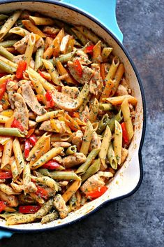 This 30 Minute Chicken Vegetable Skillet Pasta is super quick and easy to make. It uses simple ingredients for a meal the whole family will love! Vegetable Pasta, Chicken And Vegetables, Pot Pasta, Pasta Dishes, Easy Dinner Recipes, Easy Meals, Easy Recipes, Cooking Recipes, Healthy Recipes
