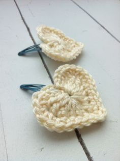 crochet heart hair clips