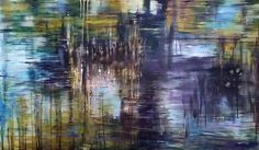 Joanne Reen | Les Jardin Des Lumieres - abstract expressionist oil waterscape painting available for sale online | StateoftheART Gallery Impressionist Artists, South African Artists, Garden Pool, Water Lilies, Wood Paneling, Original Paintings, Oil, Abstract, Gallery