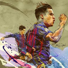 Three portraits of famous players from the soccer team of the FC Barcelona.Lionel Messi, Andres Iniesta et Philip Coutinho.This painting is a mix between traditional painting (watercolor, acrylic, ink, pen) and digital painting(photoshop and grahic tabl… Fc Barcelona Players, Lionel Messi Barcelona, Barcelona Team, Barcelona Cake, Barcelona Tattoo, Barcelona Shirt, Football 2018, Philippe Coutinho, Fc Bayern Munich