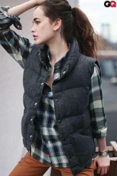 I wish I could pull this off without looking like a lumberjack. I love the plaid with the vest.