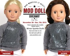 During The Mod Doll Monday Giveaway at Pixie Faire you can enter to win an Our Generation Doll and a Liberty Jane Outfit. Doll Outfits, Doll Dresses, Ag Doll Clothes, Doll Clothes Patterns, Crissy Doll, Our Generation Dolls, American Girl Clothes, Doll Costume, How To Make Clothes