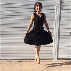 Whbm Classic V-Neck Black Dress