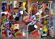 Zio Ziegler- native, chaotic, but still rooted in tradition, this work barrows from cubism