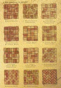Brick patterns- inspiration for wine cork trivet patterns | A great DIY wine project to upcycle those leftover wine corks into gifts.: