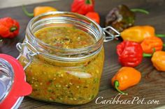 This pepper sauce recipe is a Southern family favorite. Perfect to serve with cornbread, greens or peas, this pepper sauce recipe Caribbean Pepper Sauce Recipe, Jamaican Hot Sauce Recipe, West Indian Hot Sauce Recipe, Chutneys, Hot Sauce Recipes, Hot Pepper Recipes, Trini Food, Salsa Dulce, Garlic