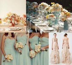 Mint and peach.