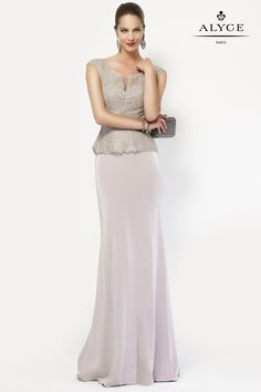 Alyce Paris Special Occasion Collection - 27105 Strapless Crepe Sweetheart Neck Lace Long Dress in Silver (capped sleeve, peplum top) Gala Dresses, Pageant Dresses, Modest Dresses, Evening Dresses, Chiffon Dresses, Long Dresses, Strapless Dress, Formal Dresses, Summer Dresses
