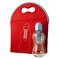 bobble Soft Red Lunch Bag with 13oz Water Bottle