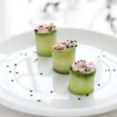 Cucumber Rolls with Goat Cheese - Perfect healthy appetizer #Tbone Talbot
