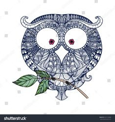 Decorative ornamental Owl, zendoodle design element. Template packaging, invitations, printing on bags, a t-shirt and for any other kind of design flyers, posters holiday, vector illustration
