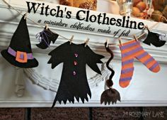 Make your Own Adorable Witch's Clothesline