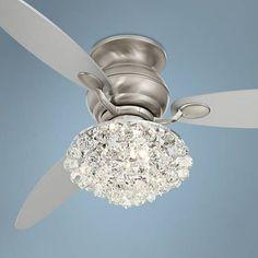"$450   60"" Spyder Brushed Steel Crystal Hugger Ceiling Fan - #R4214-T2684-8R575 | Lamps Plus"