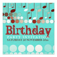 Musical Notes Birthday Invitation