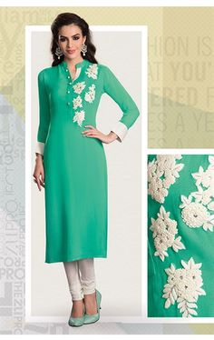 Picture of Sparkling Jade Green Ready Made Kurti