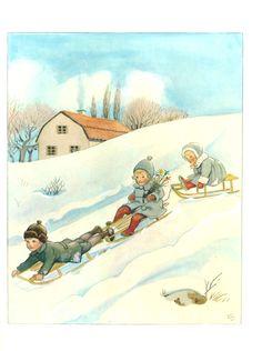 Sledging fun in Elsa Beskow - Around the Year