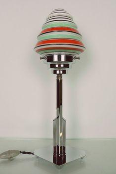 Skyscraper Art Deco Lamp, 1930s Modernism, Chrome, Bakelite, Green / Red Shade  | eBay