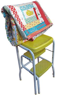 quilty love...love that stool...I grew up with one similar to it..