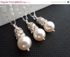 10% OFF - SET of 3  Ivory Pearl and Rhinestone Bridal by weddingbellsdesigns, $62.07