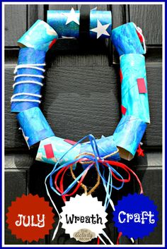 Make kids' craft time easy with supplies you have around the house - like this Fourth of July DIY toilet paper wreath! Tutorial via @theactivitymom