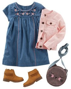An outfit so cute, she needs it right meow! Little details like a cat crossbody bag and fringed ankle boots add to the charm of the chambray dress and pink twill jacket Toddler Girl Style, Toddler Girl Outfits, Toddler Fashion, Kids Fashion, Toddler Girls, Toddler Girl Boots, Toddler Hair, Fashion Clothes, Little Girl Outfits