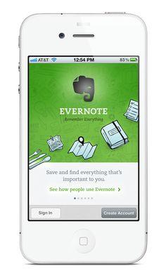 Walkthrough  Evernote: First Launch by Kara Hodecker, via Behance